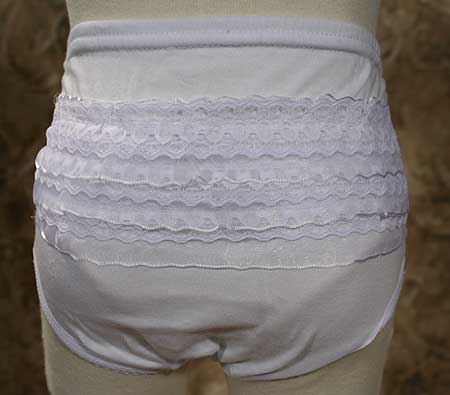White Diaper Cover with Lace