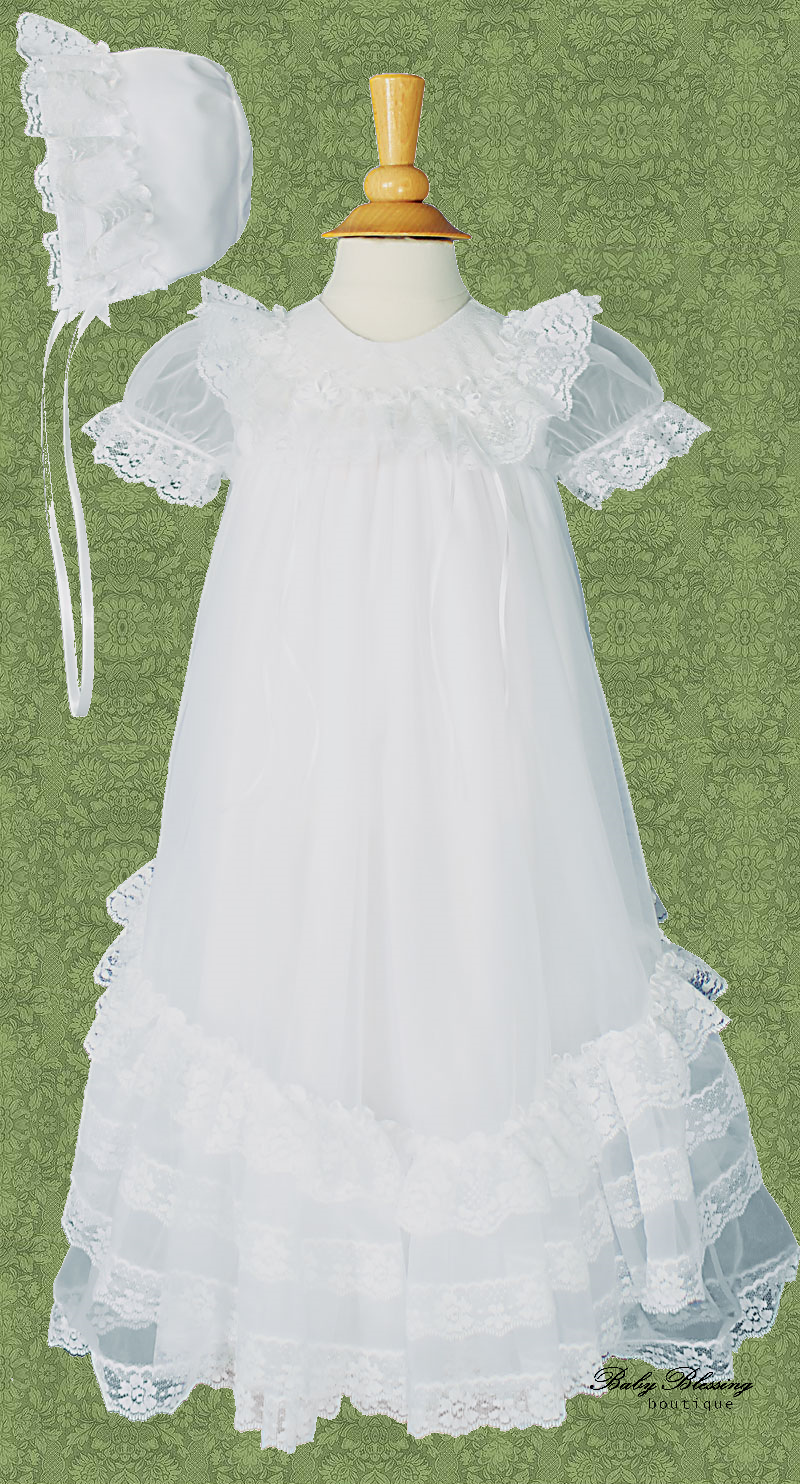 Sheer Ruffle Baby Blessing Dress BBBoutique